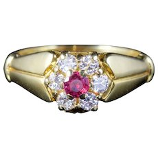 Antique Victorian Ruby Diamond Ring 18ct Gold Circa 1880