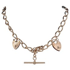 Antique Victorian 9ct Rose Gold Albert Chain Double Heart Padlock Necklace Circa 1880