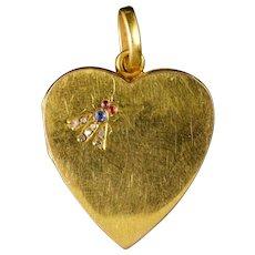 Antique Victorian Heart Locket 18ct Gold Diamond Sapphire Ruby Circa 1880