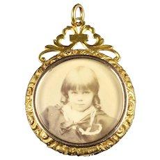 Antique Victorian Double Photo Pendant 15ct Gold Circa 1900