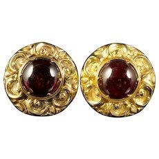 Antique Victorian Garnet Earrings 15ct Gold Circa 1900