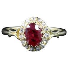 Antique Victorian Ruby Diamond Ring Natural Ruby 18ct Gold Circa 1880