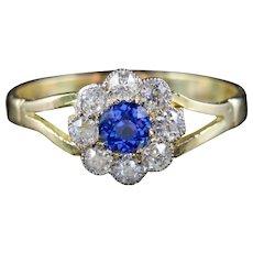 Antique Victorian Sapphire Diamond Ring 18ct Gold Circa 1900
