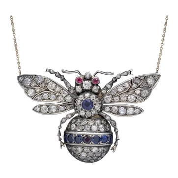 Sapphire Diamond Ruby Bee Pendant Necklace Silver 18ct Gold