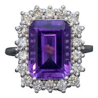Vintage Amethyst Cluster Ring 18ct Gold Circa 1950