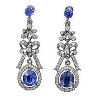 Vintage Blue Paste Drop Earrings Circa 1950