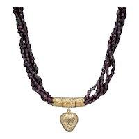 Antique Georgian Garnet Necklace 18ct Gold Heart Locket Circa 1800