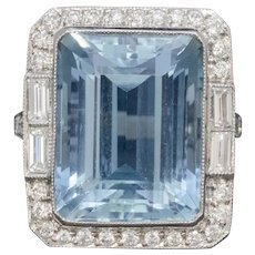 Art Deco Aquamarine Diamond Ring Platinum 18ct Aqua Circa 1930