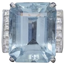 Art Deco Aquamarine Diamond Ring Platinum 12ct Aqua Circa 1930