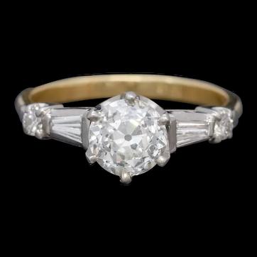 Antique Edwardian Diamond Ring 1.49ct Diamond Solitaire 18ct Gold Platinum Circa 1910 CERT