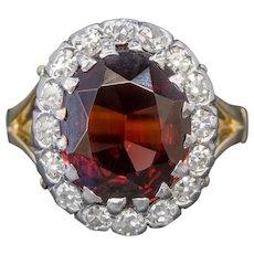 Vintage Garnet Diamond Cluster Ring 18ct Gold 5ct Garnet