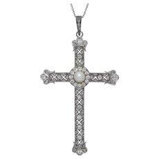 Art Deco Diamond Cross Pendant Necklace Platinum Circa 1930