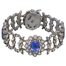 Antique Georgian Blue Paste Bracelet Silver Circa 1800