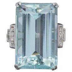 Art Deco French 56ct Aquamarine Diamond Ring Platinum Circa 1930