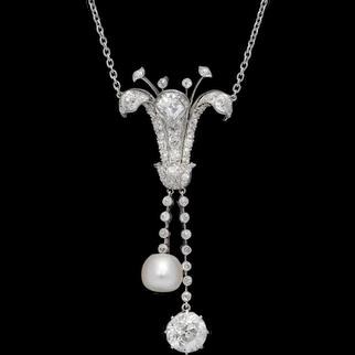 Vintage Diamond Pearl Lily Pendant Necklace Platinum 5ct Diamond C. 1925