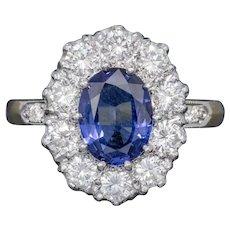 Sapphire Diamond Cluster Ring 18ct Gold Platinum 2ct Sapphire 1.10ct Diamond