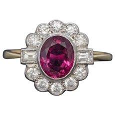 Ruby Diamond Cluster Ring 1.60ct Ruby 1ct Diamonds