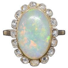 Antique Victorian 6ct Natural Opal Diamond Cluster Ring 18ct Gold Circa 1900