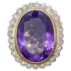 Vintage 12ct Amethyst Diamond Cocktail Ring 18ct Gold Dated 1989