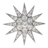 Antique Edwardian Paste Star Brooch Silver Circa 1910