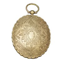 Antique Victorian Large Engraved Locket 9ct Gold Silver Circa 1850