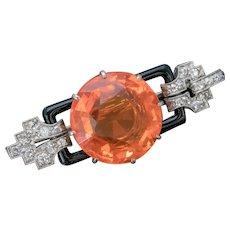 Art Deco Natural 10ct Fire Opal Diamond Onyx Brooch 18ct Gold Circa 1920