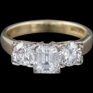 Vintage Diamond Trilogy Ring 18ct Gold Platinum 1.70ct Diamonds Cert