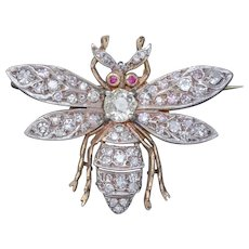 Diamond Bee Brooch 18ct Gold Ruby Eyes 3ct Of Diamond
