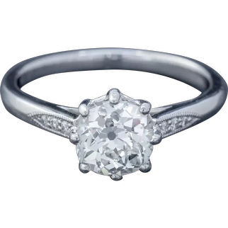 Diamond Solitaire Engagement Ring Platinum 1.24ct Old Cut Diamond Cert