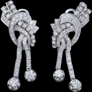 Art Deco Diamond Clip Earrings Platinum 5ct Of Diamond Circa 1920