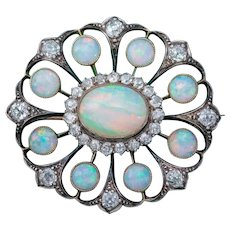 Antique Victorian Opal Diamond Brooch Natural 5.1ct Opals Circa 1900
