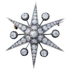 Antique Victorian Star Brooch Pendant 18ct Gold Silver 4.30ct Diamonds Boxed Circa 1900