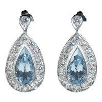 Aquamarine Drop Earrings 18ct White Gold
