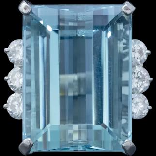 Vintage Aquamarine Diamond Cocktail Ring Platinum 20ct Emerald Cut Aqua