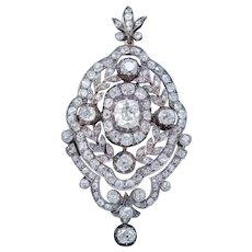 Antique Edwardian Diamond Pendant Brooch 8.35ct Of Diamonds 18ct Gold Circa 1905
