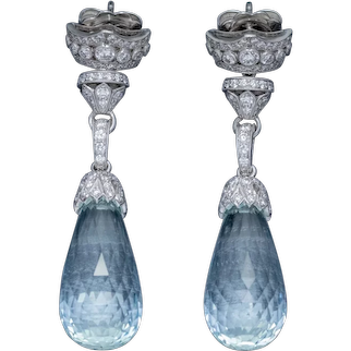Briolette Cut Aquamarine Diamond Drop Earrings 18ct Gold 25ct Aquas 2.50ct Of Diamond