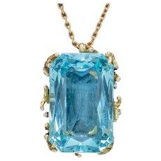 Vintage Aquamarine Diamond Pendant Necklace 18ct Gold 42ct Scissor Cut Aqua