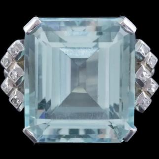 Art Deco Aquamarine Diamond Ring Platinum 25ct Emerald Cut Aqua Circa 1930