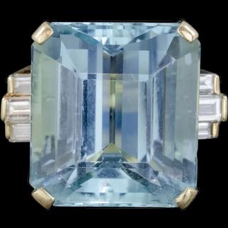 Vintage Aquamarine Diamond Cocktail Ring 18ct Gold 28ct Emerald Cut Aqua