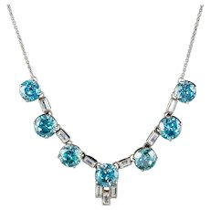 Art Deco Blue Zircon Lavaliere Necklace Silver 20ct Of Zircon Circa 1920