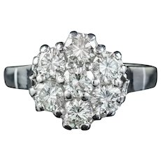 Vintage Diamond Cluster Ring 18ct White Gold 2.10ct Of Diamond Dated 1977