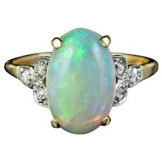 Antique Edwardian Natural Opal Diamond Ring 18ct Gold 5.50ct Opal Circa 1901