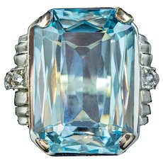 Vintage Aquamarine Diamond Cocktail Ring 14ct Gold 14.50ct Scissor Cut Aqua