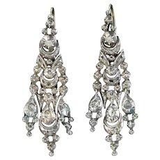 Antique Georgian Spanish Diamond Drop Earrings Silver Circa 1790