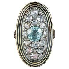 Antique Georgian Diamond Aquamarine Mourning Ring Mary Antrobus Dated 1791