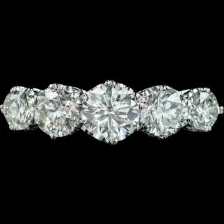 Antique Edwardian Five Stone Diamond Ring 2.36ct Diamond Circa 1905