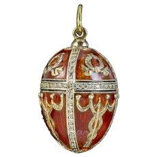 Vintage Enamel Diamond Egg Pendant 14ct Gold