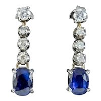 Vintage Sapphire Diamond Drop Earrings 18ct Gold 1.60ct Of Sapphire Boxed