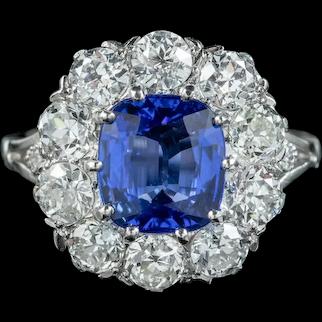 Edwardian Style Sapphire Diamond Cluster Ring 3.25ct Sapphire