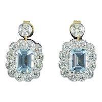 Edwardian Style Aquamarine Diamond Earrings 18ct Gold 2.50ct Aquas